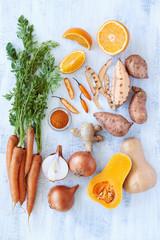 Butternut soup fresh raw ingredients recipe