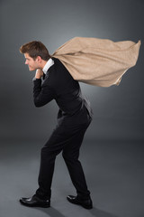 Businessman Carrying Moneybag