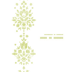 Green textile damask flower vertical frame seamless pattern
