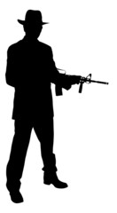 Silhouette Gangster Holding Rifle