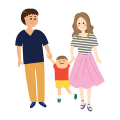 A portrait of a happy family, young parents swinging a child