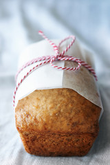 Cake loaf tied with paper and bakers twine