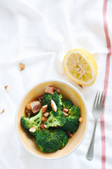 healthy salad steamed boiled broccoli salad with bacon bits