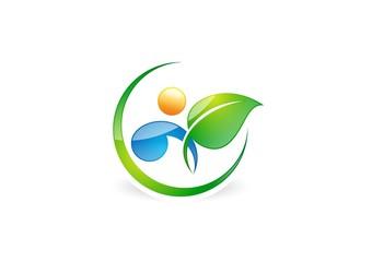 people,natural,logo,health,water drop,leaf,botany,ecology