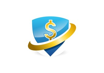 shield,logo,dollar,emblem,protection,loop,safety,tech,investment