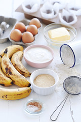 Raw ingredients for banana cake loaf
