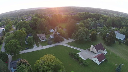 Sunset over Ann Arbor, MI USA Midwest small town aerial view