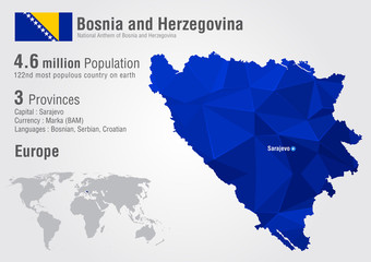 Bosnia world map with a pixel diamond texture.