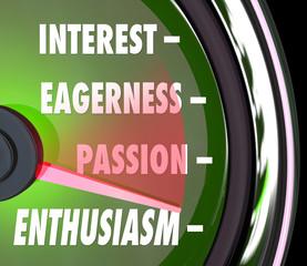 Enthusiasm Gauge Level Interest Eagerness Passion Speedometer