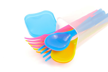 plastic fork and spoons