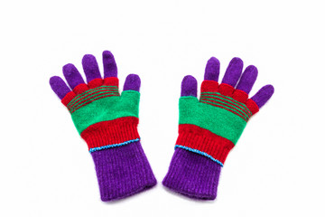 Colorful woolen glove of children.