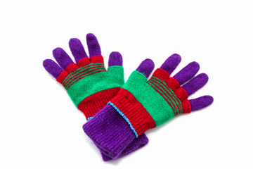 Colorful woolen glove.