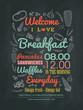 Breakfast cafe Menu Design typography on chalk board - 70416734