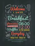 Breakfast cafe Menu Design typography on chalk board