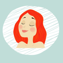 vector young girl face with makeup, red hair