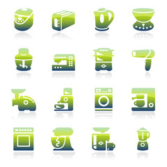 Home appliances green icons.