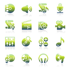 Audio video green icons.