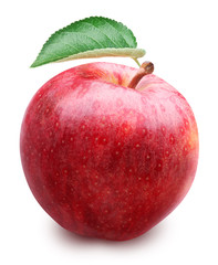 Red apple with leaf isolated on a white background.
