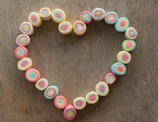 heart-shaped frame made from marshmallow