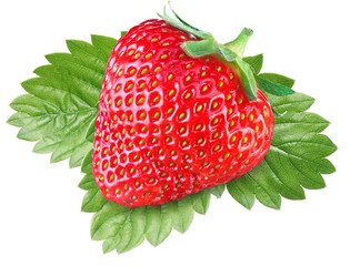 One rich strawberry fruit with leaves.