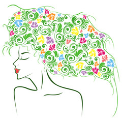 Female contour with colourful floral elements