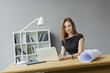 canvas print picture - Young woman in the office