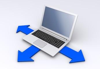 ノートパソコンと方向