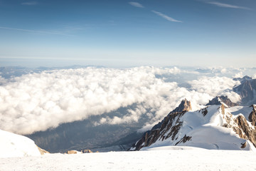 Panoramic view on Chamonix from the summit of Mont Blanc