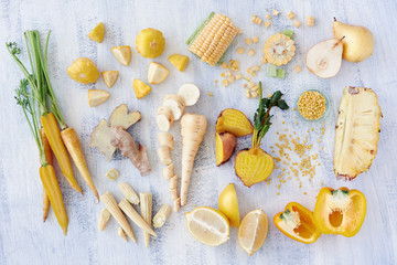 Yellow spectrum raw organic fruit and veg