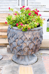 Steal pipal leaf texture pot with Bougainvillaea flower