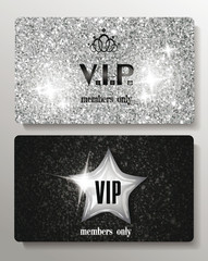 Silver VIP cards with texture background