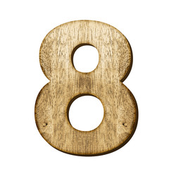 8 Number made from wood