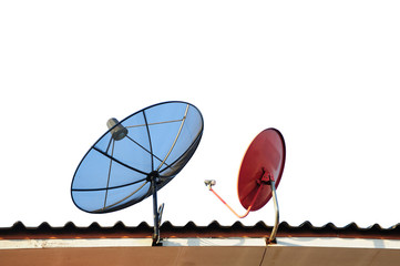 satellite dishes on a house roof