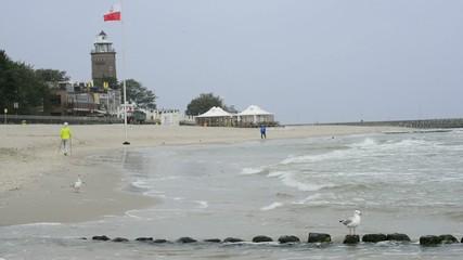 Strand von Kohlberg mit Leuchtturm