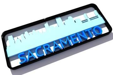 Sacramento USA base colors of the flag of the city 3D design