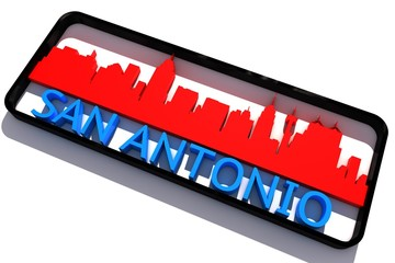 San Antonio USA base colors of the flag of the city 3D design
