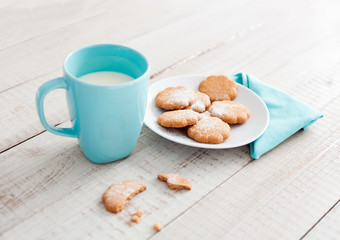 Cup of milk and cookies