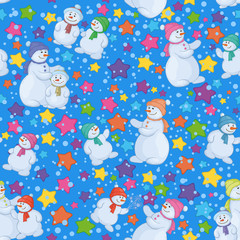Seamless Christmas background with snowmen