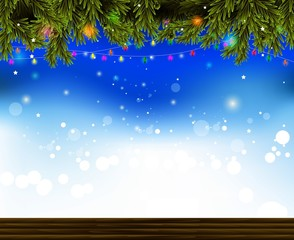 christmas background with fir and snowflakes and lamp