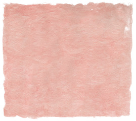 Japanese handmade paper, delicate pale red, isolated on white