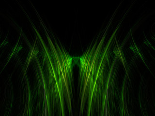 Glowing green plasma curves