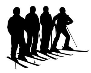 winter. ski silhouette.