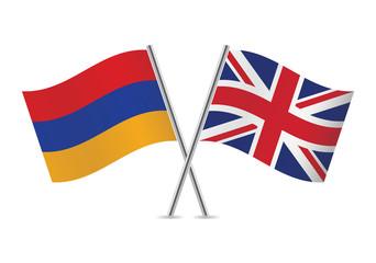 Armenian and British flags. Vector illustration.
