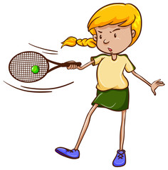 A simple sketch of a female tennis player
