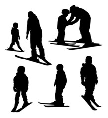 Ski school for kids. silhouettes