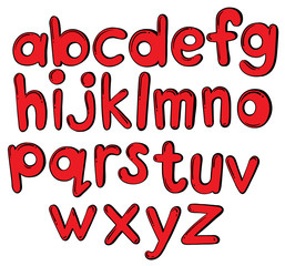 Letters of the alphabet in red color
