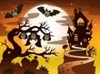 Zdjęcia na płótnie, fototapety, obrazy : Theme with Halloween silhouette 2