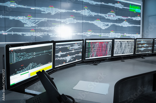 Fotobehang Industrial geb. modern electronic control room , science and technology backgrou