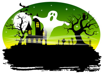 haunted house in a full moon night