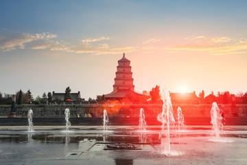 xian big wild goose pagoda at dusk